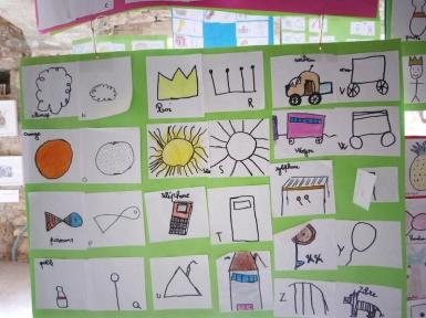 Abécédaire réalisé par un enfant de la classe d'Eric Delphaud, à Coudes